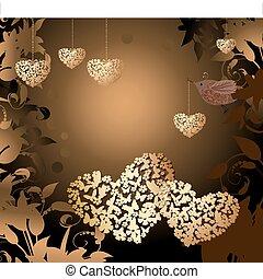 valentines, uccello, oro