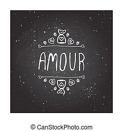valentines, vecteur, saint, handdrawn, écusson, jour