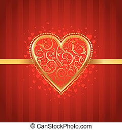 Valentines vector card with golden ornate heart