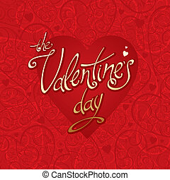 Valentines vector card with hearts background & calligraphy