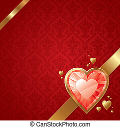 Valentines vector card with ruby hearts on golden frame