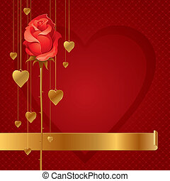 Valentines vector illustration with red rose & hanging golden hearts