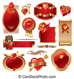 Valentines vector set with ornate golden luxury frames & hearts