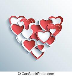 valentines, vermelho, corações, branca, Dia, cartão,  3D