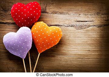 valentines, vindima, feito à mão, corações, sobre, madeira,...