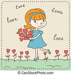valentine's, vinhøst, hearts., pige, dag, card