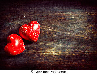Valentines Vintage Handmade Couple Hearts over Wooden Background