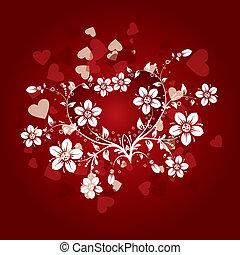 valentines, virágos, háttér, vektor