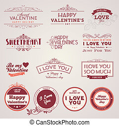 valentines, weinlese, tag, etiketten