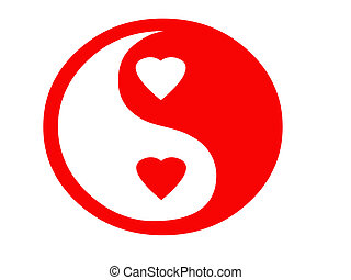 Red Yin Yan symbol with hearts.