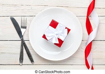 valentinestag, geschenkschachtel, aus, platte