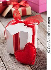 valentinestag, geschenkschachtel, und, herz