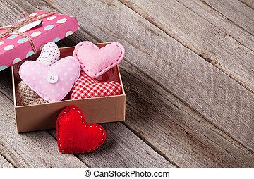 valentinestag, geschenkschachtel, und, herzen