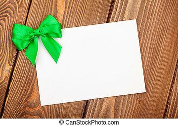 valentinestag, grüßen karte, mit, grün, schleife