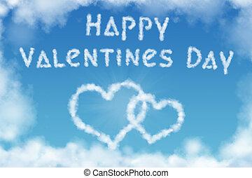 valentinestag, grüßen karte, mit, herz hat gestaltet, wolkenhimmel