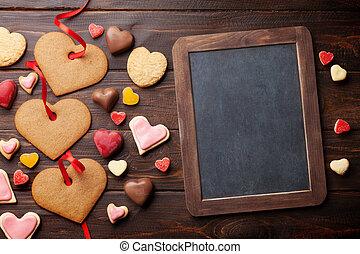 valentinestag, grüßen karte, mit, herz, pl�tzchen