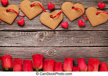 valentinestag, grüßen karte, mit, herz, pl�tzchen, und, blumen