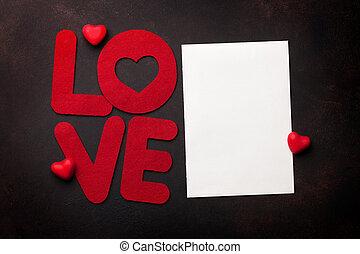 valentinestag, grüßen karte, mit, liebe, wort