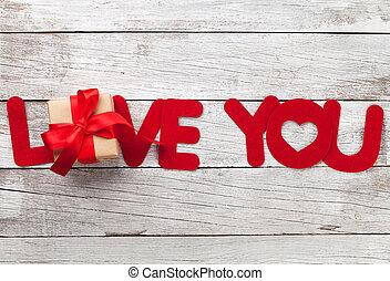 valentinestag, grüßen karte, mit, liebe, wort, und, geschenk
