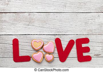 valentinestag, grüßen karte, mit, liebe, wort, und, pl�tzchen