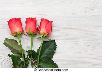 valentinestag, grüßen karte, mit, rote rosen