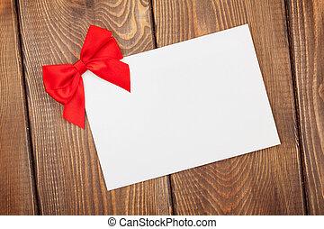 valentinestag, grüßen karte, mit, roter bogen