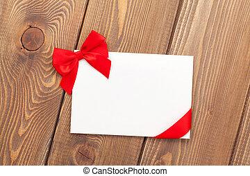 valentinestag, grüßen karte, mit, rotes band