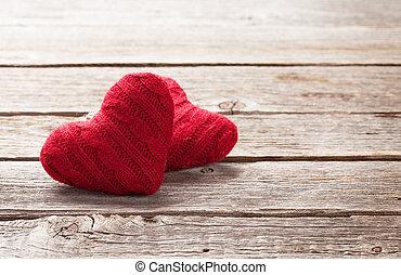 valentinestag, grüßen karte, mit, rotes , herzen