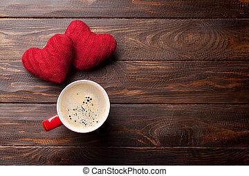 valentinestag, grüßen karte, mit, rotes , herzen, und, bohnenkaffee