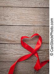 valentinestag, herz hat gestaltet, rotes band