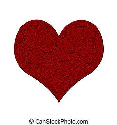 valentinestag, herz, mit, rote rosen, muster