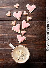 valentinestag, herz, pl�tzchen, und, bohnenkaffee