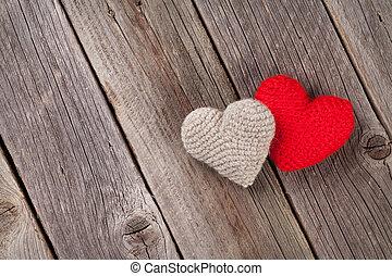valentinestag, herzen, auf, holz
