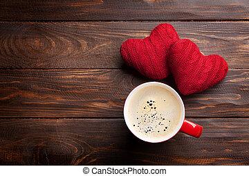 valentinestag, herzen, und, bohnenkaffee