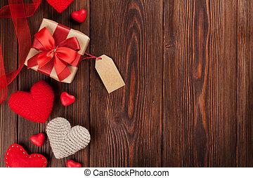 valentinestag, herzen, und, geschenk boxt