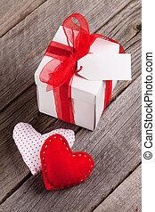 valentinestag, herzen, und, geschenkschachtel