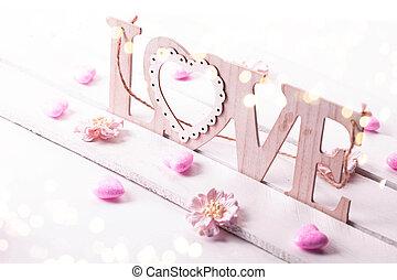 valentinestag, hintergrund, mit, hölzern, wort, liebe