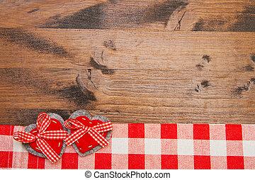 valentinestag, hintergrund, mit, handgearbeitet, spielzeug, herzen, aus, holztisch