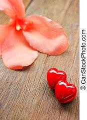 valentinestag, hintergrund, mit, rotes , hearts.