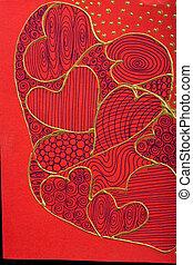 valentinestag, karte, mit, rotes , herzen