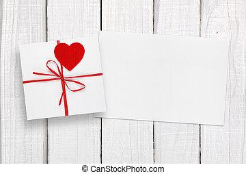 valentinestag, karte, und, geschenkschachtel