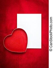 valentinestag, leerer , grüßen karte, mit, rotes , herzen