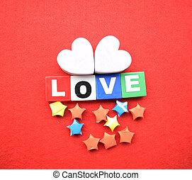 valentinestag, liebe, grüßen karte, freigestellt, auf, rotes