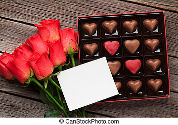 valentinestag, mit, rote rosen, und, kakau