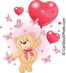 Valentine%u2019s Teddy Bear Hanging from a heart shape ...