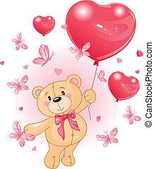 Valentine%u2019s Teddy Bear Hanging from a heart shape ...