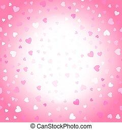 valentinkort, bakgrund, rosa, och, vit, hjärtan