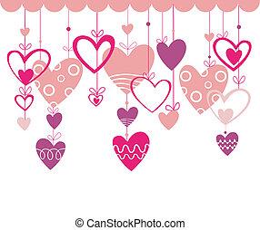 valentinkort dag, bakgrund, med, höra
