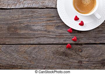 valentinkort dag, kaffe, avskrift tomrum
