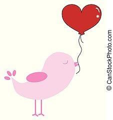 valentinkort, fågel, med, balloon